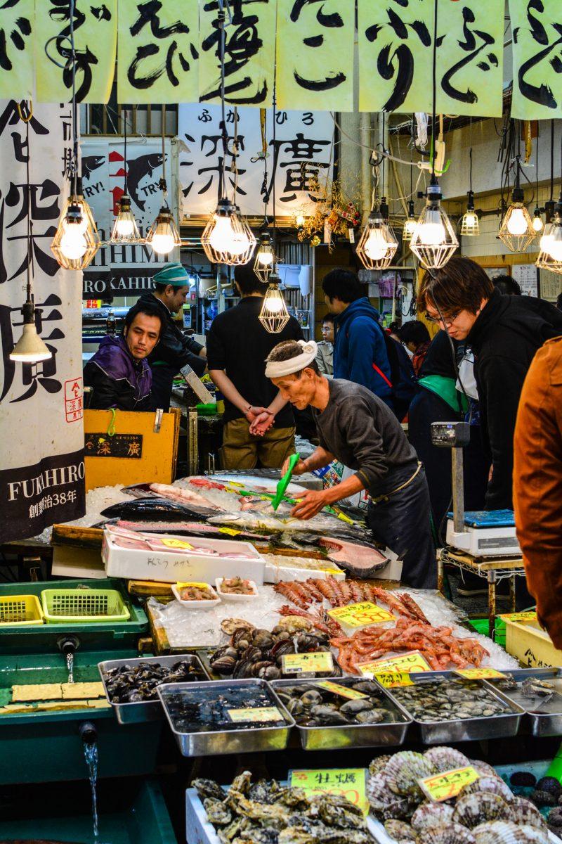 Etals de fruits de mer - Marché Kuromon Osaka